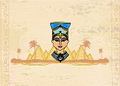 pic of nefertiti  - old paper with Egyptian queen on Pyramids landscape  - JPG