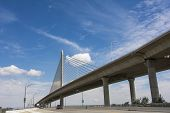 stock photo of skyway bridge  - A view looking up of the Veterans - JPG