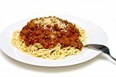 Spaghetti With Meat Sauce On White Plate With Fork poster