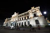 The National Bank of Romania in the night