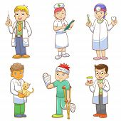 Doctor and Medical person cartoon set.