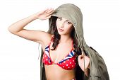 stock photo of army cadets  - Photo of a beautiful girl in army pinup throwing out a salute to retro fashion in 1940 military style - JPG