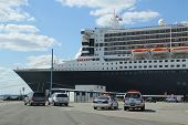 Port Authority Police New York New Jersey providing security for Queen Mary 2 cruise ship docked at