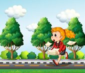Illustration of a girl running hurriedly while carrying a pile of papers