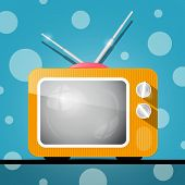 Retro Orange Television, TV Illustration on Abstract Blue Background