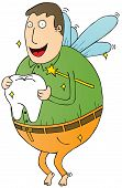picture of tooth-fairy  - Illustration of a Flying Fat Tooth Fairy - JPG