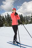 image of nordic skiing  - A woman cross-country skiing in the Alps ** Note: Soft Focus at 100%, best at smaller sizes - JPG