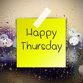 picture of thursday  - Happy Thursday with water drops background with copy space