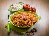 casarecce with ricotta ad almond sicily recipe, selective focus