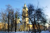 Orthodox Church of the Annunciation stands next to a park in winter