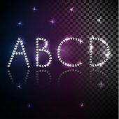 Shiny diamond transparent alphabet letters set - uppercase version - eps10
