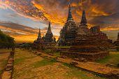Wat Phra Si Sanphet Temple Sunset Ayutthaya