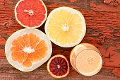 Постер, плакат: Glass Of Freshly Liquidised Grapefruit Juice