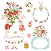 set of illustrations and graphic elements for greeting cards, cute rabbits