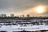 picture of early spring  - Sunrise on a calm early spring morning with a barren field and trees ind the horizon - JPG