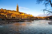 Bern cathedral at Aare shore