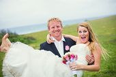 Wedding Couple, Happy Romantic Bride and Groom in Love