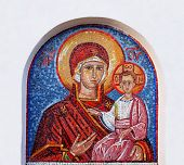 mosaic icon of Virgin Mary and baby Jesus in Ostrog cave monastery, Montenegro