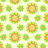 Bright flower pattern on dark green background
