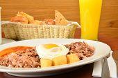 Colombian cuisine. bandeja paisa Close up.