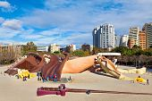 VALENCIA, SPAIN - JANUARY 14, 2014: Gulliver kids park - popular attraction with slides, ramps and l