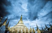 Shwedagon Pagoda Temple Shining In The Beautiful Sunset In Yangon