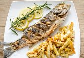 Baked Seabass With Fried Potatoes