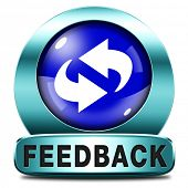 feedback or testimonials blue icon or button. Publical comments for improvement and customer satisfaction
