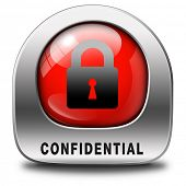 confidential top secret classified information red label icon or button  private info