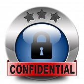 confidential top secret classified private information red label icon button or stamp