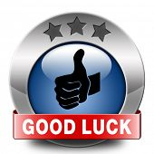 good luck blue button or icon fortune, best wishes wish you the best of luck