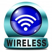 wireless radio wave free wifi access area and internet access icon or button