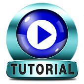 tutorial icon  learn online video lesson or class, website education button web classes