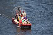 JACKSONVILLE, FL, USA - MARCH 17, 2013: A group of tourist starting an air boat ride in the St. John