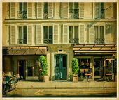 Traditional Parisian house with cafe. Old photo