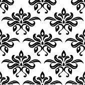 Modern foliate black and white arabesque pattern