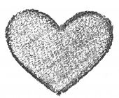 Hand drawn, crayon heart shape isolated on white background