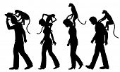 Silhouettes of annoying monkeys on people's backs