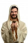 Jesus smiling and holding communion cup isolated over white background