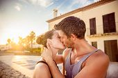 beach coast kissing romantic scene boy and girl