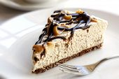 picture of cheesecake  - Slice of chocolate caramel cheesecake - JPG