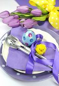 Happy Easter Yellow And Purple Mauve Lilac Theme Easter Table Place Setting.