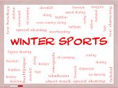 Winter Sports Word Cloud Concept On A Whiteboard