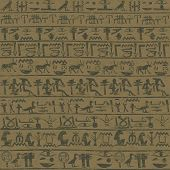 Ancient Wall With Egyptian Hieroglyphs Grunge Background