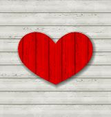 Red Heart On Wooden Background For Valentine Day
