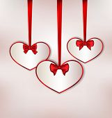 Set Card Heart Shaped With Silk Bow For Valentine Day