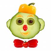Healthy Eating. Funny Face Made Of Vegetables And Fruits