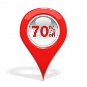 Sales round pin with 70% off isolated on white