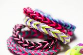 picture of rubber band  - a macro shot of rubber band bracelets - JPG