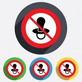 Baby's dummy sign icon. No Child pacifier symbol.